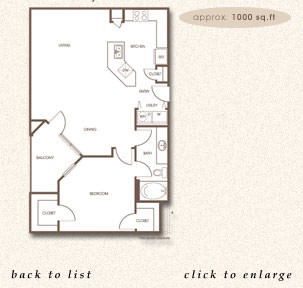 1,000 sq. ft. A-3 floor plan