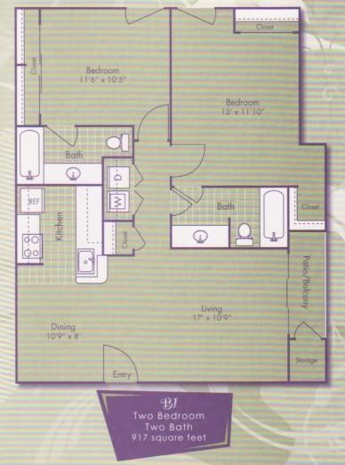 917 sq. ft. Van Gogh floor plan