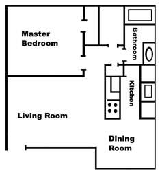 593 sq. ft. A1 floor plan