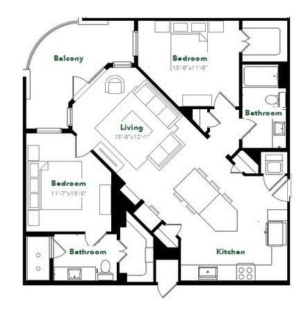 1,135 sq. ft. B1C36 floor plan