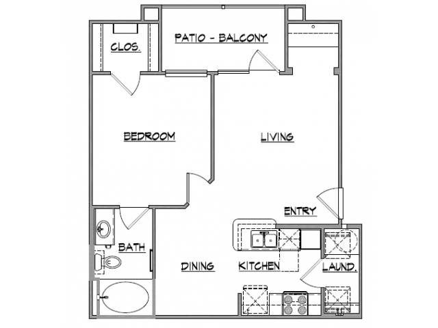 754 sq. ft. Antero floor plan