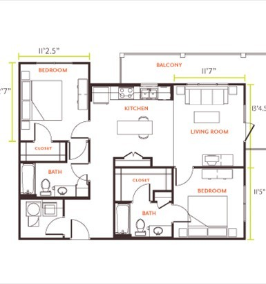 531 sq. ft. E1 floor plan