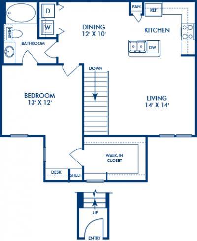 866 sq. ft. REDWOOD floor plan