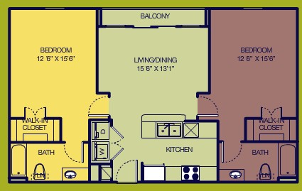 1,014 sq. ft. Standard floor plan