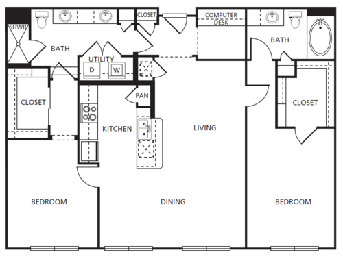 1,290 sq. ft. D2 floor plan