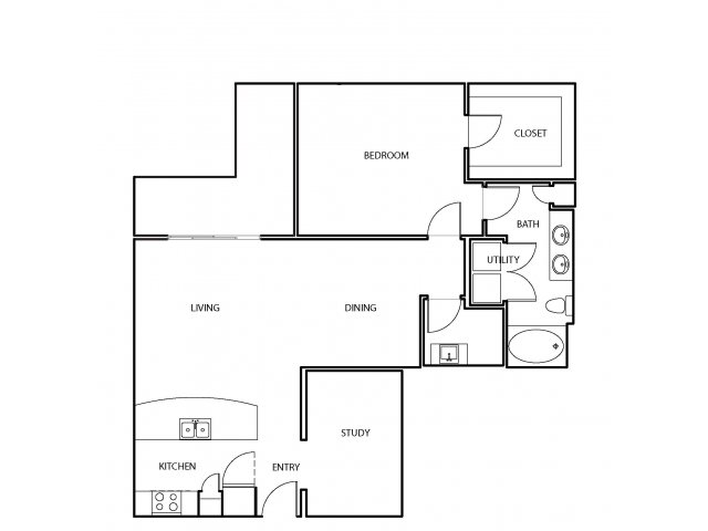 1,065 sq. ft. A11 floor plan