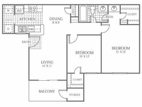 876 sq. ft. C floor plan