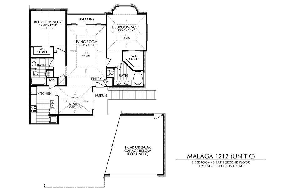 1,212 sq. ft. C floor plan