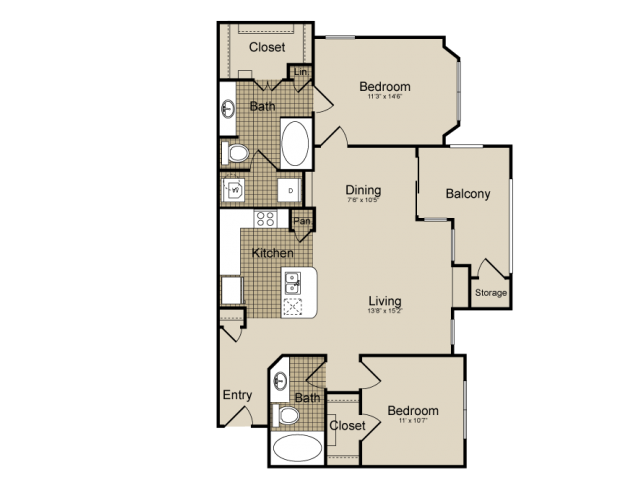 1,088 sq. ft. Ursa    (B2) floor plan