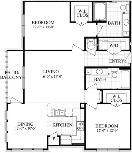 1,207 sq. ft. D floor plan