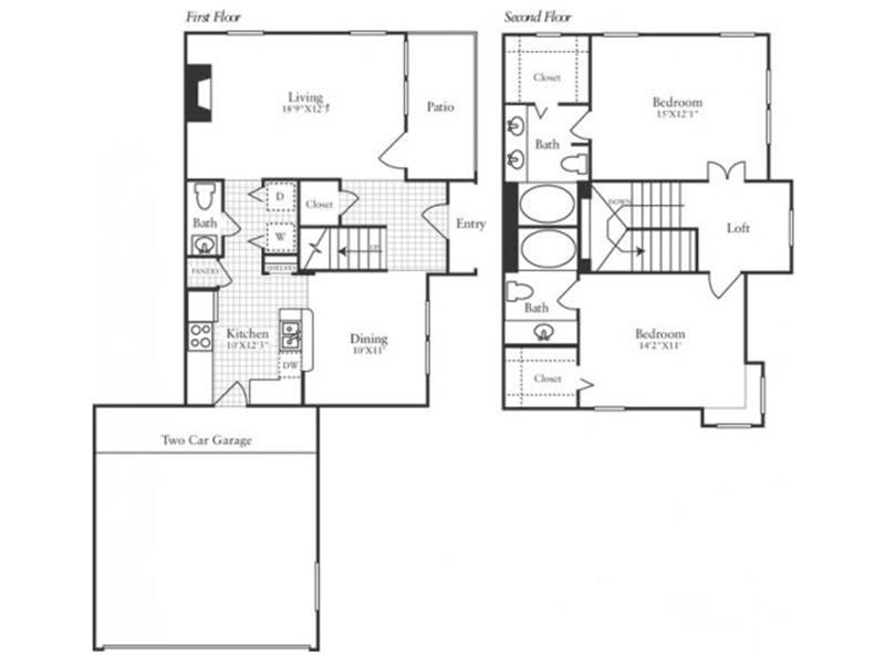 1,369 sq. ft. TH2 floor plan