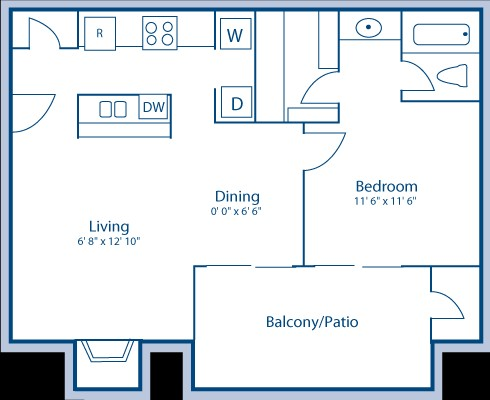 632 sq. ft. B floor plan