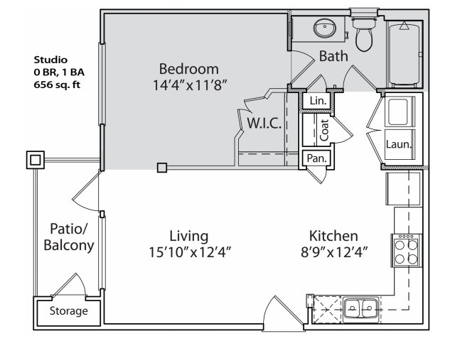 590 sq. ft. S1 floor plan