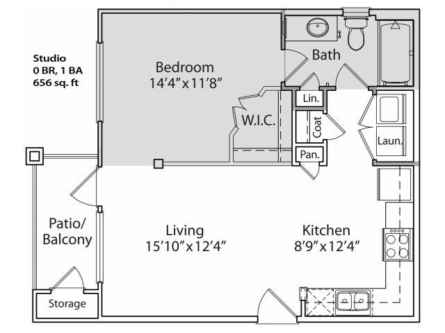 590 sq. ft. S1 floor plan