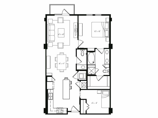 1,046 sq. ft. A6 floor plan