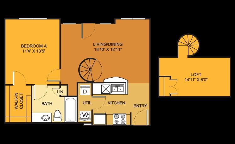 632 sq. ft. A2 floor plan