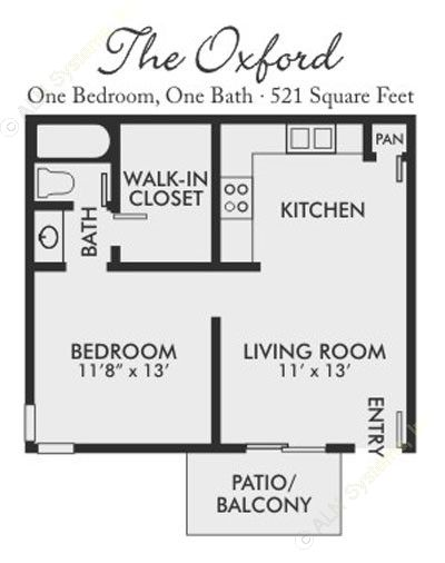 521 sq. ft. Oxford floor plan