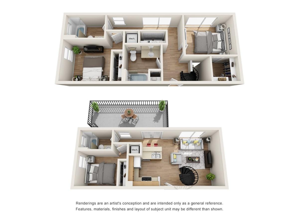 1,336 sq. ft. A4 floor plan