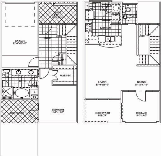 1,017 sq. ft. TH1 floor plan
