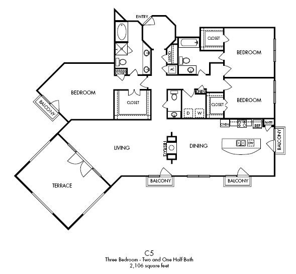 2,106 sq. ft. Penthouse floor plan