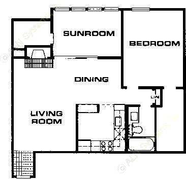 858 sq. ft. A5 floor plan