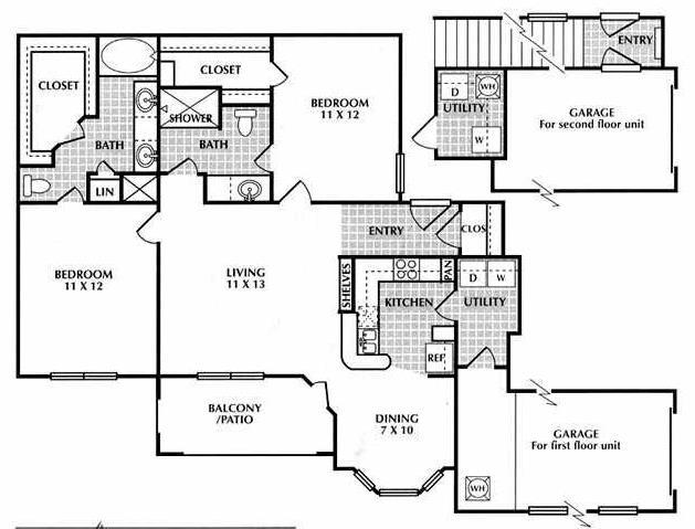 1,301 sq. ft. EG2 floor plan