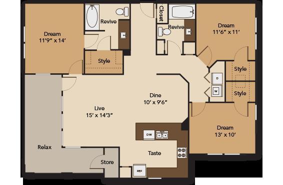 1,351 sq. ft. GARDEN C1 floor plan