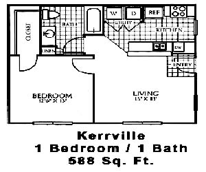 588 sq. ft. A1 floor plan