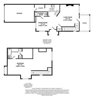 863 sq. ft. TH1-GAR floor plan