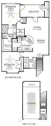 1,205 sq. ft. B2G floor plan