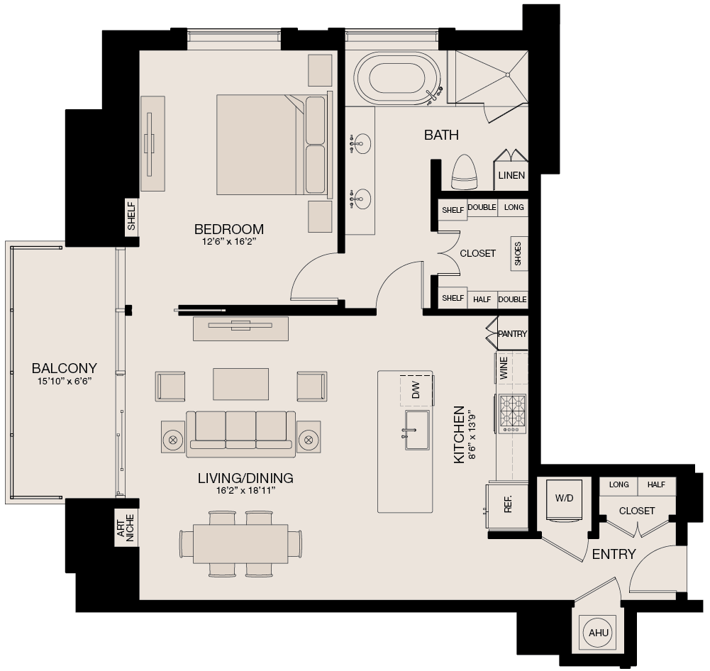 1,058 sq. ft. floor plan