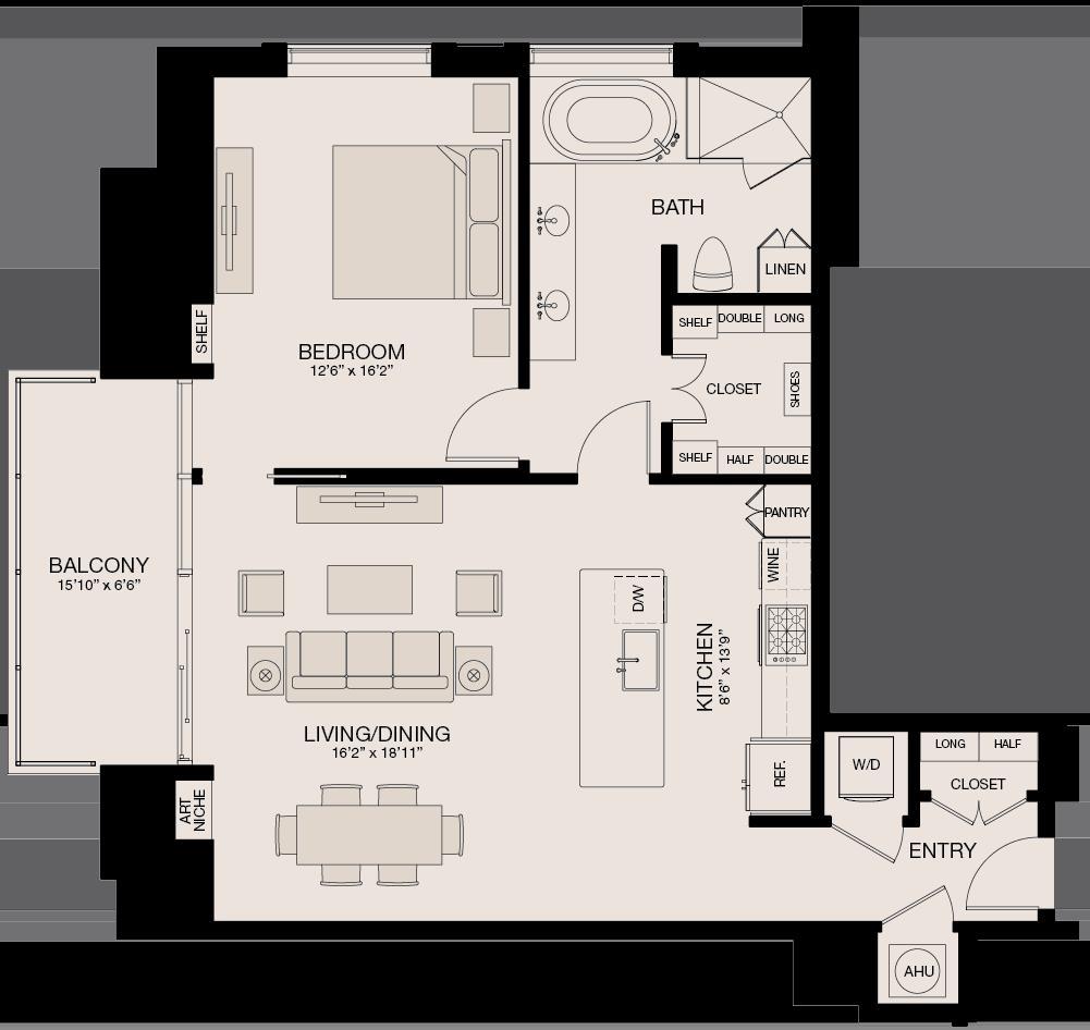 1,058 sq. ft. floor plan