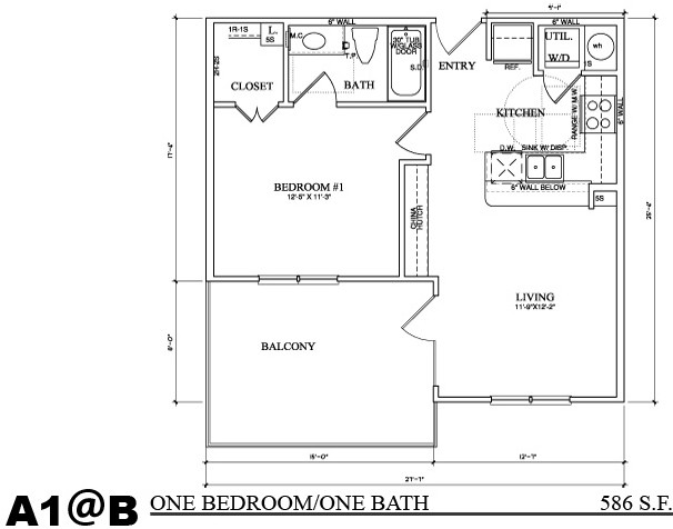 586 sq. ft. A1B floor plan