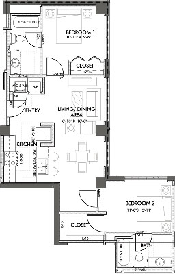 867 sq. ft. Jennings 60% floor plan