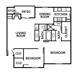 1,059 sq. ft. B2 floor plan