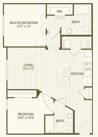 947 sq. ft. B1 floor plan