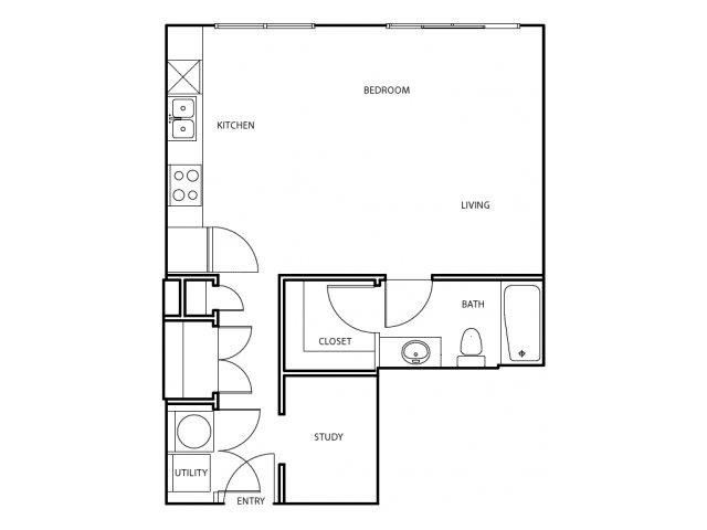 507 sq. ft. E4 floor plan
