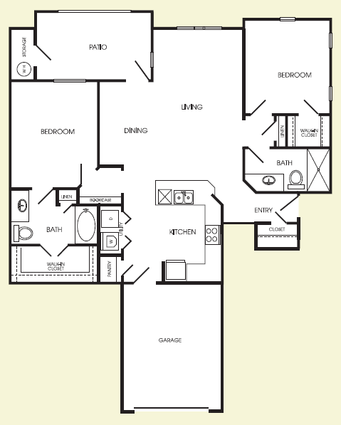 1,205 sq. ft. Downtown floor plan