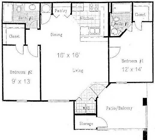 939 sq. ft. C floor plan