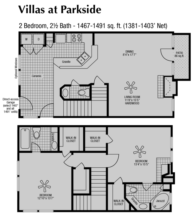 1,381 sq. ft. to 1,467 sq. ft. D floor plan