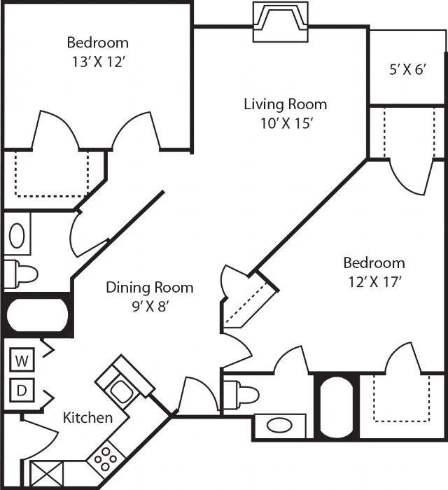 1,132 sq. ft. B2 floor plan