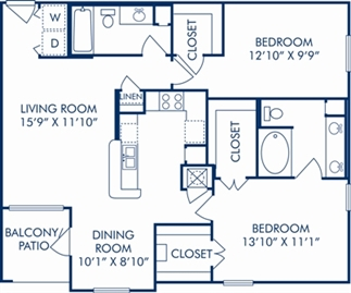 1,095 sq. ft. F floor plan