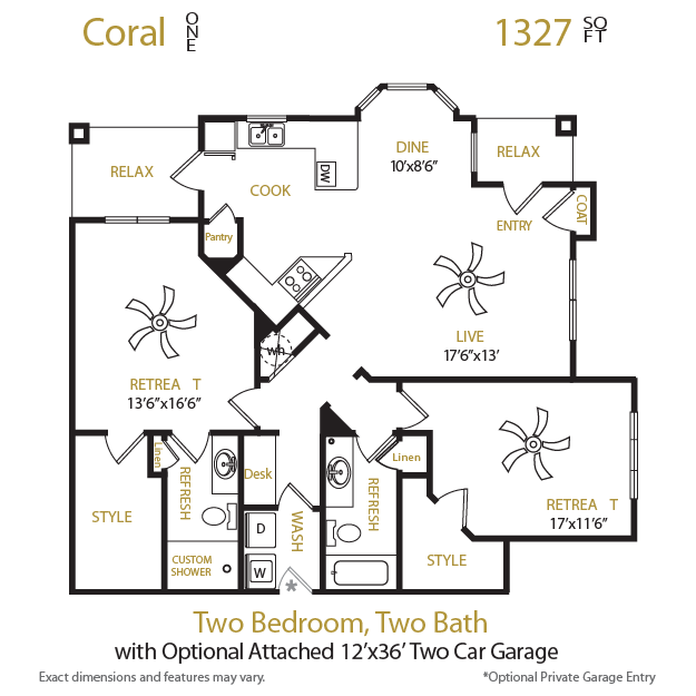 1,327 sq. ft. Coral 1 floor plan
