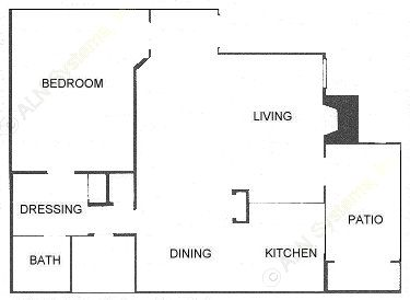 715 sq. ft. 1D floor plan