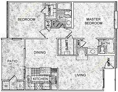 1,005 sq. ft. J floor plan