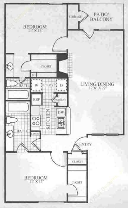 968 sq. ft. B2 floor plan