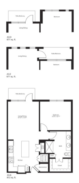 812 sq. ft. A3B floor plan