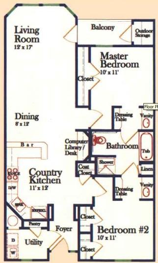 1,022 sq. ft. B 60% floor plan