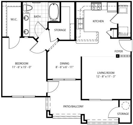 826 sq. ft. Mojave floor plan