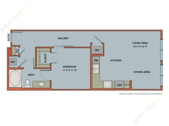 735 sq. ft. A6 floor plan